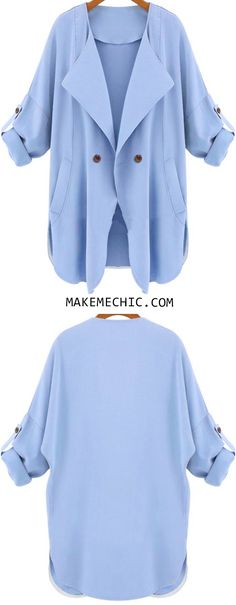 Blue Long Sleeve Pockets Trench Coat