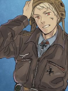 """Prussia's an airplane pilot! But I would probably lose my lunch during the flight ^^""""   Prussia: Alright everyone, we're gonna have a lot of fun this trip, so hang on tight and don't fall out of the plane! Kesesese~"""