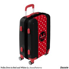Polka Dots in Red and White Luggage. Red background colour with a pattern of white polka dots. A black disc framed with white dots. One template to add your initial and another to add your name.