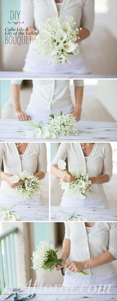 DIY Bouquet Ideas from Afloral.com. Create an elegant bridal bouquet with two pre-made bouquets. Unwrap the bouquets. Loosely hold the Calla Lily bouquet in your hand. Begin inserting Lily of the Valley stems thorughout the Calla Lily bouquet until you are happy with the look. Wrap the stems with floral tape to secure and cover the stems in a bouquet wrap. You have now created your very own bridal bouquet and with silk flowers it will last for years after your wedding day.