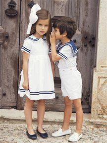 Can these be my children!   GIRLS COTTON SAILOR DRESS, BOYS SAILOR ROMPER