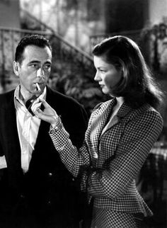 "**The Big Sleep (1946) Lauren Bacall, Humphrey Bogart - Director: Howard Hawks The Book: ""Film noir masterpiece missing key tenets numerous femme fatales, no flashbacks, chiaroscuro lighting, no voice-over... Marlow is not lost in a world of lies and deception but utterly in control and confident at all times."""