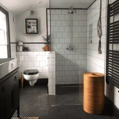 Made from porcelain, these durable Black Hexagon Matt Mosaic Tiles can be used on either a wall or floor. Inject the hexagonal trend into your kitchen or bathroom. White Wall Tiles, White Bathroom Tiles, Black And White Tiles, Bathroom Floor Tiles, Diy Bathroom Decor, Bathroom Layout, White Walls, Bathroom Ideas, Basement Bathroom