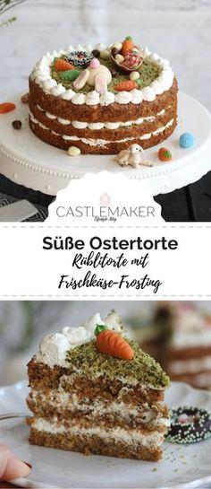 So saftig und so lecker: Karottenkuchen geht doch immer und hier ist er mit einem leckeren Frischkäse-Frosting aus Skyr verfeinert. Der Carrot Cake ist DER Kuchen für Ostern. Das Rezept ist auf meinem Blog. #ostern #rezept #ostertorte #carrotcake