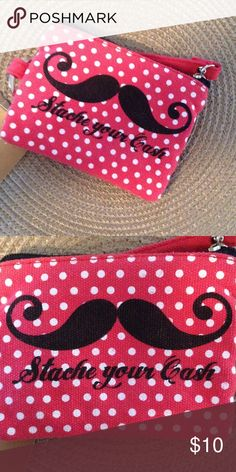 Stache your cash money holder NWT!!! By Francesca's collections.  Adorable item for any mustache fan! Francesca's Collections Bags Wallets