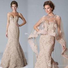 Wholesale Mother of the Bride Dress - Buy 2014 Elegant Mother of the Bride Dresses Mermaid Lace Dress Sweetheart Crystal Shawl Bolero Wrap J...