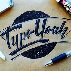 This weeks #typeyeahtuesdays entry goes to @superscript.art.lettering Smooth type with a galactic feel! Love it!  Join the #typeyeahtuesdays 2016 hand lettering challenge by designing your best version of 'Typeyeah.' and tagging #typeyeahtuesdays