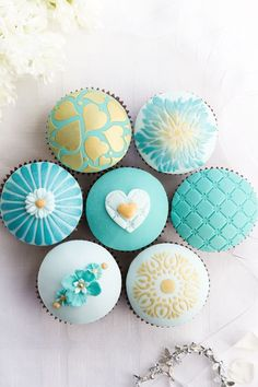 Assorted blue and gold wedding cupcakes | Something Blue