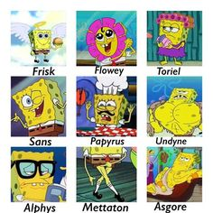 Spongebob as undertale characters