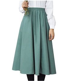 Season Show Womens Fitted Elastic Waist Cotton Linen Long Pleated Skirt Green One Size *** Continue to the product at the affiliate link Amazon.com.