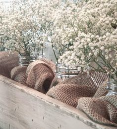 A nice spring centerpiece. Rustic wooden box with burlap and mason jars filled with baby's breath Wooden Box Centerpiece, Dining Room Table Centerpieces, Wedding Centerpieces, Christmas Centerpieces, Rustic Decor, Farmhouse Decor, Farmhouse Table, Rustic Wooden Box, Rustic Planters
