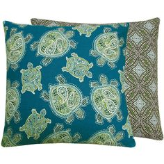 Turtle Pillow Cover 18x18 Decorative Throw Accent Cushion - Two Splendid Looks in One Cover - Turtle Bay Collection on Etsy, $37.50