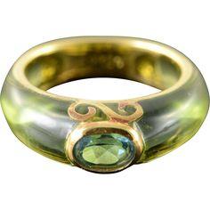 18K 2.40 CTW Blue Topaz Green Peridot Inset Ring Size 5 Yellow Gold