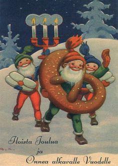 Rudolf Koivu, Iloista joulua Christmas Deco, Vintage Christmas, Christmas Cards, Xmas, Carl Larsson, Christmas Illustration, Sprites, Scandinavian Christmas, Old Toys