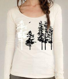Women's Hemlock tree shirt, organic long sleeve, cream, sexy scoop neck, hand screenprint, gift for her, all sizes 32