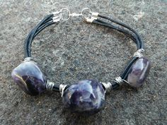 Stones if Spirituality Leather Wire Wrapped Chevron Amethyst nugget bracelet