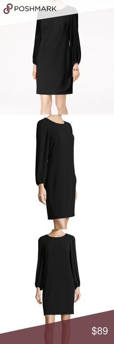 """Donna Ricco Pleated Long Sleeve Shift LBD Cocktail MSRP: $178  Size: 6 Color: Black  Shift silhouette keeps the look classic and suitable for day or night * Crewneck * Micro-pleated blouson sleeve * Even hem * Tonal topstitching and panel seaming * Back zipper closure  NWT; no flaws Body: 95% poly 5% Spandex Combo/lining: 100% poly Hand wash  Measures flat approx: Length 38"""" Chest 18.5"""" Waist 17.5"""" Hips 19.5""""  Offers warmly accepted - If we can't reach your offer, we'll send you the lowest…"""