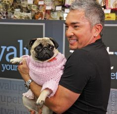 Ceaser Milan and Pug We love Cesar! Cesar Millan, Raza Pug, Amor Pug, Old Pug, Dog Whisperer, Pugs And Kisses, Pug Pictures, Black Pug, Aggressive Dog