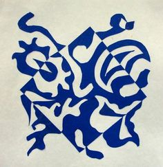 """Students learned about the Japanese principles of Notan which means """"dark light,"""" before creating their cut paper designs. They concentrated on creating balanced designs with equal amounts of positive and negative space as they expanded the square. They also concentrated on using color contrast."""