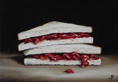 Jam Sandwich, J Palmer Daily painting Original oil still life Art