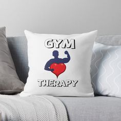 'Gym Therapy & Graphic Design With Big Heart' Throw Pillow by Designer Throw Pillows, Sell Your Art, Pillow Design, Bed Pillows, Therapy, Gym, Graphic Design, Printed, Heart