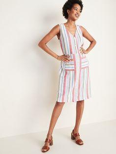 Striped Button-Front Linen-Blend Fit & Flare Dress for Women Fuchsia Dress, Navy Floral Dress, Navy Midi Dress, Striped Dress, Navy Dress Outfits, Navy Shirt Dress, Old Navy Dresses, Petite Dresses, Large Size Dresses