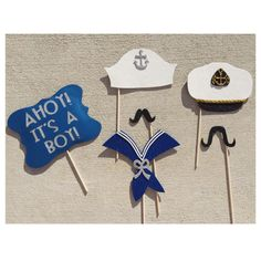 """Nautical Themed Baby Shower Photo Booth Props; """"Ahoy It's a Boy!"""" by LetsGetDecorative on Etsy"""