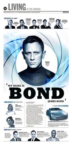 """""""My Name is Bond James Bond"""" York Daily Record Living designed by Clay Sisk. (11.06.15) #newsdesign #spectre"""