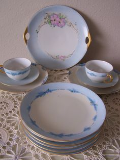 Antique Royal Bayreuth Bavaria Fine China 1924 Marked and Signed. Blue Floral 22ct. Gold. Hand Painted. Delicate, Lucious & Gorgeous!