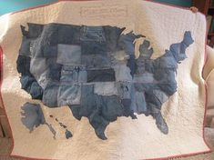 All those old jeans with worn our knees have new life! I finished this USA recycled denim quilt this afternoon and LOVE it! The denim makes...