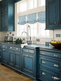 Something borrowed...something blue...especially country blue cabinets!
