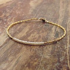 Pearl Bracelet with 24K Gold Vermeil Beads, Mothers Day Gifts, Mothers Day Jewelry, Mothers Day Bracelet