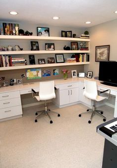 space saving ideas and furniture placement for small home office design I like the long desk with shelving plus the wood tops and white