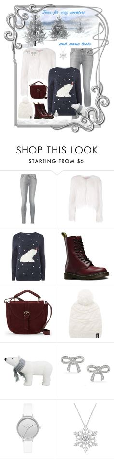"""""""sweaters & boots"""" by susan0219 ❤ liked on Polyvore featuring 7 For All Mankind, Giamba, Dorothy Perkins, Dr. Martens, IMoshion, The North Face, Miadora and Skagen"""