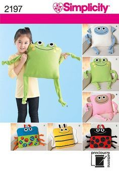 Sewing Animals Fast and easy homemade gift. Simplicity 2197 Fleece Pillow Sewing Pattern: Frog by ucanmakethis - Sewing Toys, Sewing Crafts, Sewing Projects, Plus Size Sewing Patterns, Simplicity Sewing Patterns, Kids Pillows, Animal Pillows, Soft Pillows, Fleece Projects