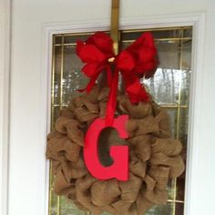 Burlap Christmas Wreath- like the letter placement!