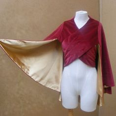 Front Wrapped Cloak. Two chest wrap pieces fasten in back.