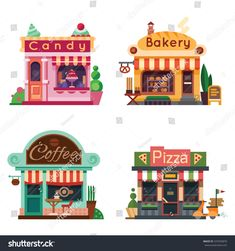 Set of nice shops. Different Showcases: bakery, candy store, pizza cafe, coffee. Flat vector illustration stock set.