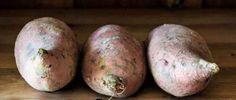 Zoete aardappel met boerenkool uit de oven.