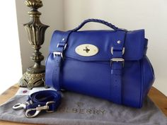 85e13b86e9a4 Mulberry Regular Alexa Satchel in Neon Blue Goat Printed Calf with Silver  Nickel Hardware