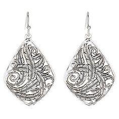 """Pure Montana Sterling Silver 1.75"""" Filigree Teardrop Earrings"""