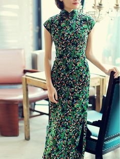 Green Floral Linen Qipao / Cheongsam Party Dress - CozyLadyWear