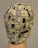 Green money welding hat or cap with cash and 100 dollar bills American currency.