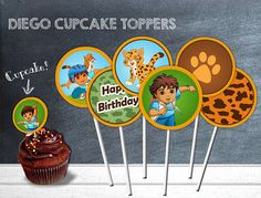 DIEGO PARTY Printable Cupcake Toppers, Instant Download Diego Printable, Go Diego GO Party Printable Cupcake Toppers.