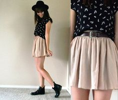 Forever 21 Hat, Vintage Top, Thrifted Belt, American Apparel Chiffon Skirt, Leatherlike Boots
