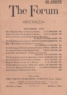 December 1894 The Forum Magazine Will Polygamists Control the New State of Utah