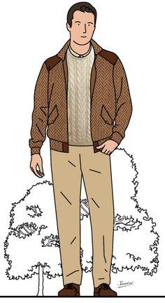 Blouson en chevron, pull Aran, chino beige et chukkas marron Herringbone bomber jacket, Aran sweater, chino trousers and brown chukka boots