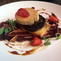 Blood and Foie (Blood Sausage, Foie Gras Torchon, Pecan Nutella, Strawberries, Challah Crouton, Black Pepper Rockslamic, Pickled Ramps) - at Le Petit Cochon