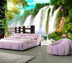 room photo wallpaper custom mural non-woven wall sticker sun waterfall forest Lotus painting TV background wall wallpaper Photo Wallpaper, Wall Wallpaper, Lotus Painting, Bedroom Furniture, Bedroom Wall, Outdoor Furniture Sets, Outdoor Decor, Decoration, Photos