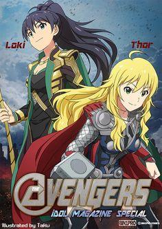 Idolmaster x Avengers, Hibiki & Miki, by たく(taku)